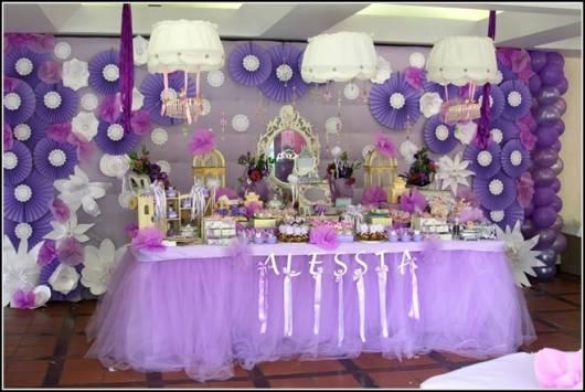 decoração cha de bebe provencal na cor lilas