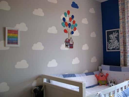 Quarto Bebe Masculino Papel Parede ~ Para decorar a parede masculina, a escolha foi s?til com fundo cinza