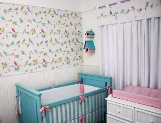 DECORAÇÃO DE QUARTO DE BEBÊ 70 Dicas e Fotos! ~ Quarto Rosa E Azul Tiffany