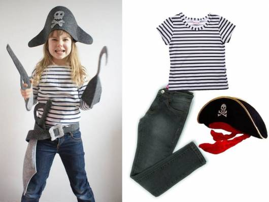 fantasia improvisada pirata para menina