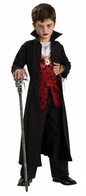 roupa preta e vermelha dracula infantil