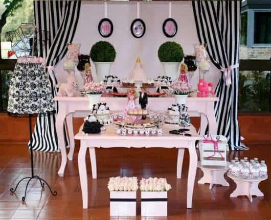 festa menina rosa e preto