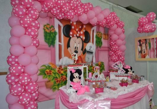 festa de aniversario minnie baby rosa