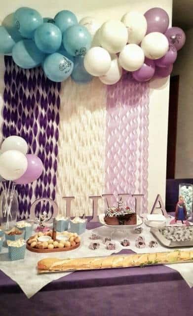 festa lilás e azul anna e olaf