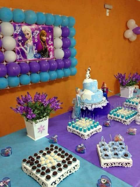 festa azul e roxa filme frozen