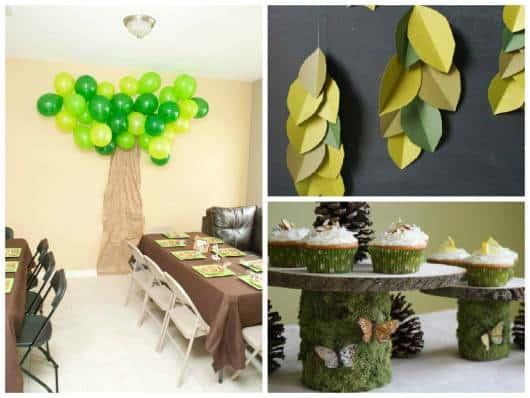 ideias para enfeitar festa floresta