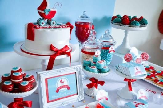 ideias para decorar mesa de chá de bebê luxuosa
