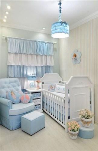 decoração azul e branco quarto bebê