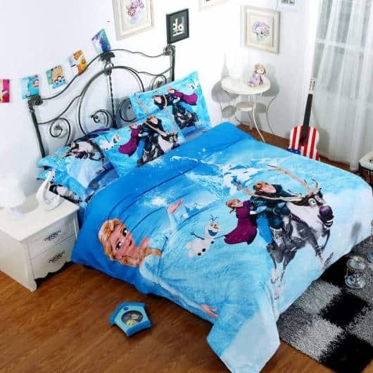 quarto de menina colcha azul elsa