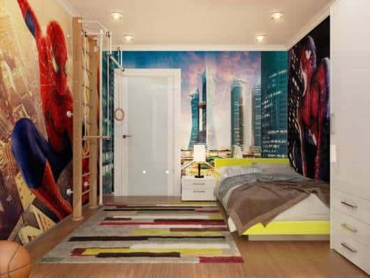 quarto masculino parede homem aranha