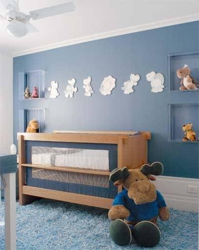 quarto azul e bege bebê