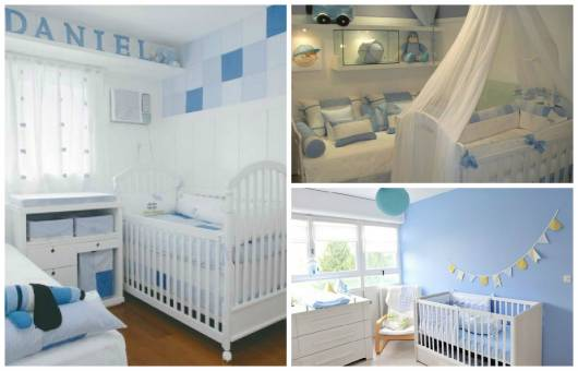 quarto simples bebê azul e branco