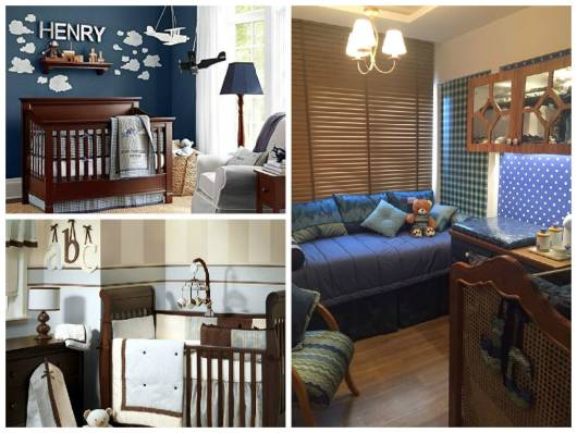ideias decoração azul e marrom menino