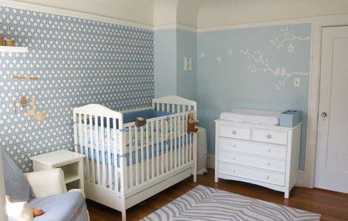 decoração quarto bebê azul e branco