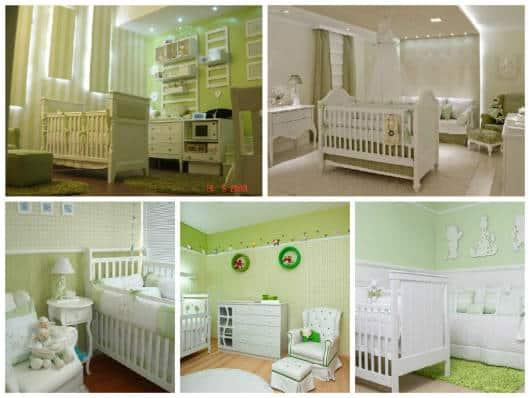 quarto de bebê verde e branco