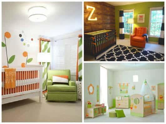 quarto de bebê verde e alaranjado
