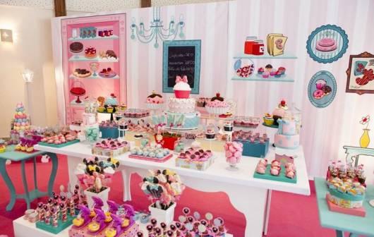decoração rosa e turquesa