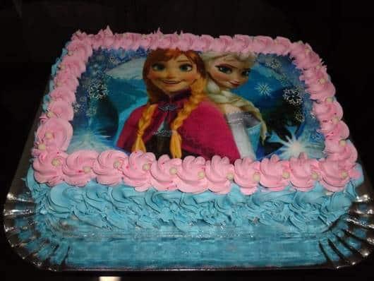 bolo frozen rosa e azul