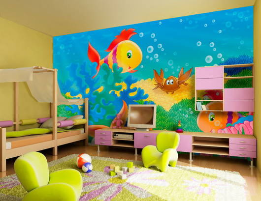 decoracao infantil quarto fundo do mar