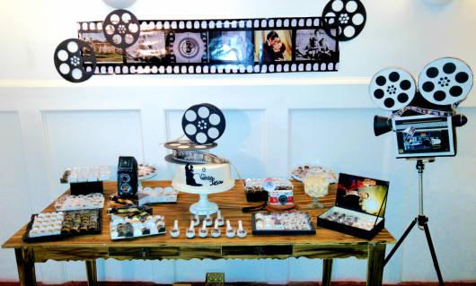 aniversário tema cinema preto e branco