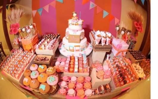 decoração pink e laranja