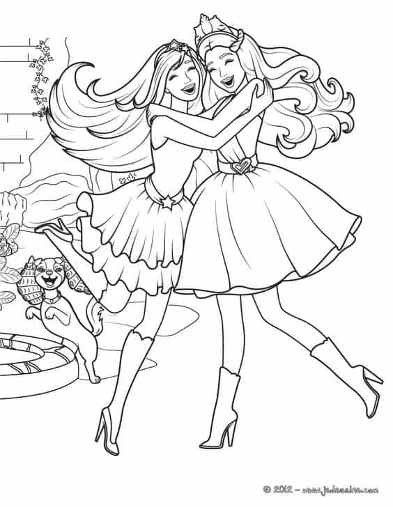 pintura barbie e amiga