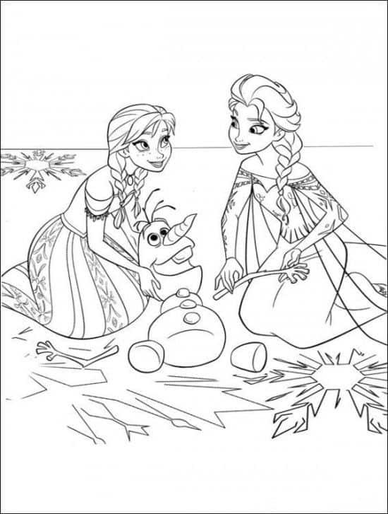 personagens Anna, Elsa e Olaf