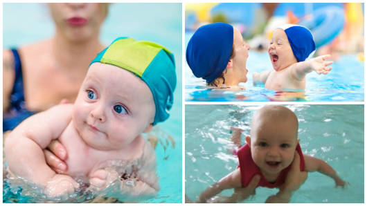 bebês nadando