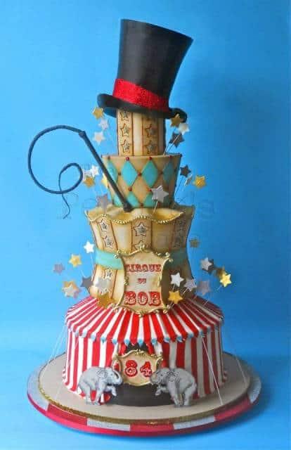 como fazer bolo circo com cartola