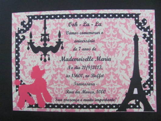convite festa Barbie Paris gráfica