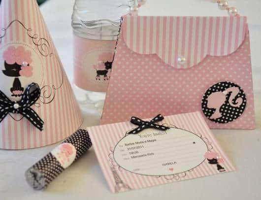 convite bolsinha festa Barbie Paris