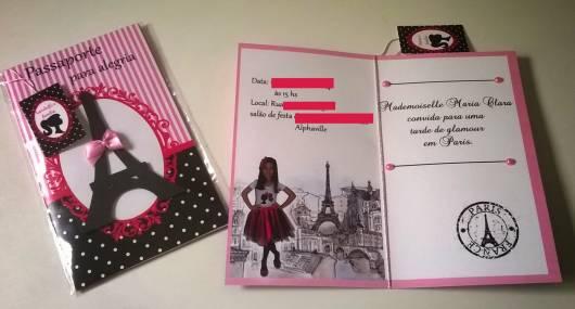 convite personalizado festa Barbie Paris