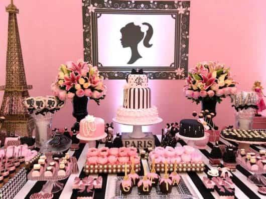 ideias para mesa da festa barbie paris