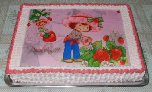 papel de arroz para decorar bolo Moranguinho