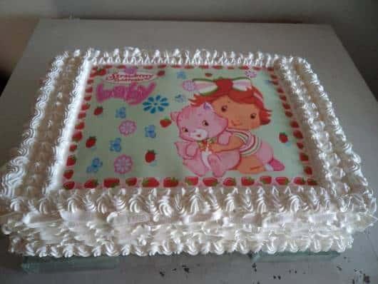 glacê e papel de arroz para decoração bolo Moranguinho