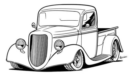 pin old car coloring - photo #23
