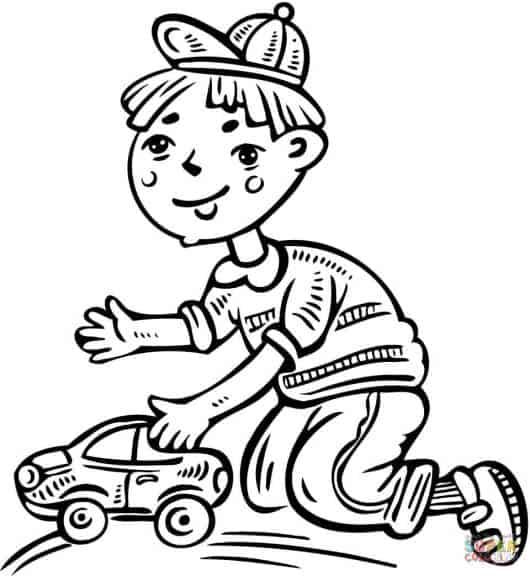 desenhos de carros para colorir e garoto