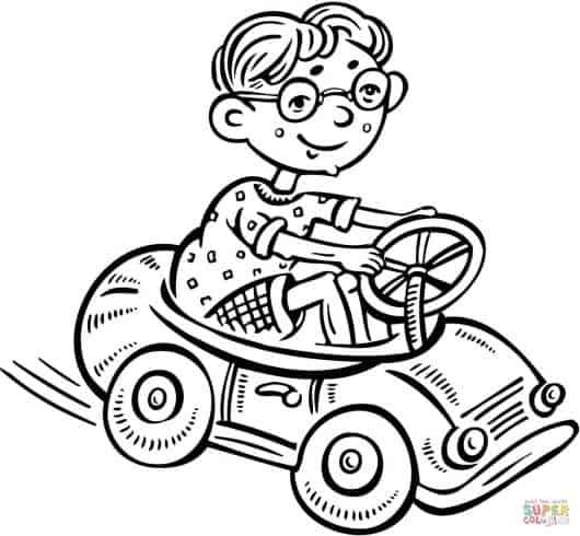 desenhos de carros para colorir e menino