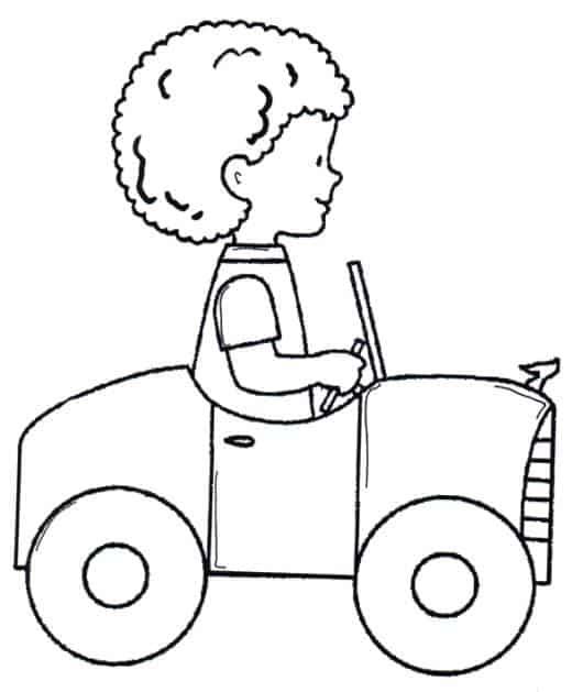 desenhos de carros para colorir com menino
