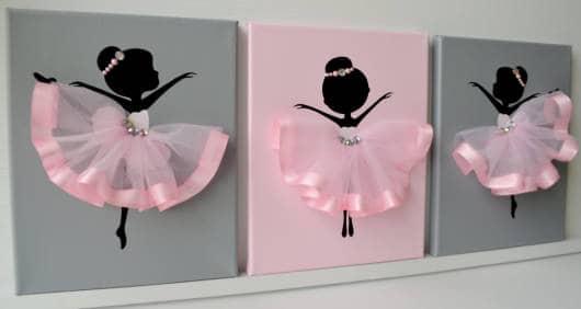 como fazer quadros para quarto de bailarina