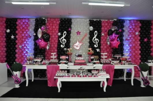 decoração preta e pink