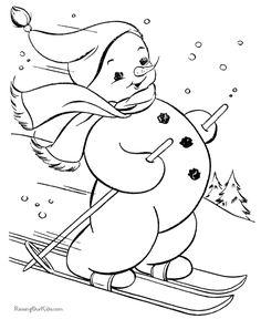 boneco de neve esquiando
