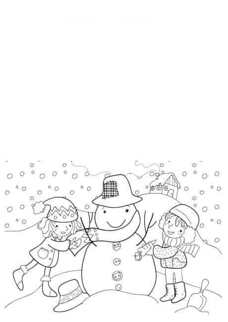 cartão com boneco de neve