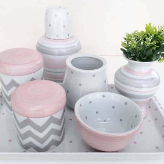 decoração rosa e cinza