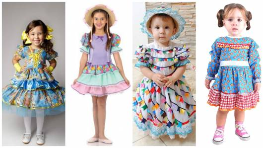 vestido de festa junina infantil simples