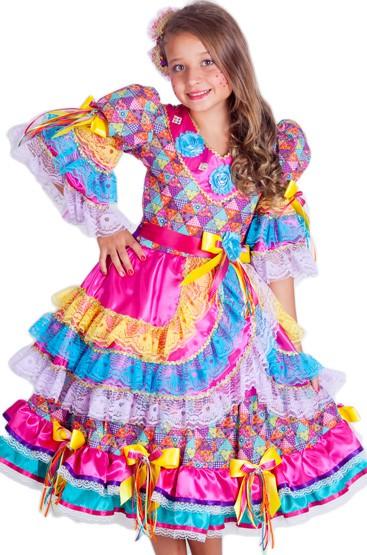vestido de festa junina infantil colorido