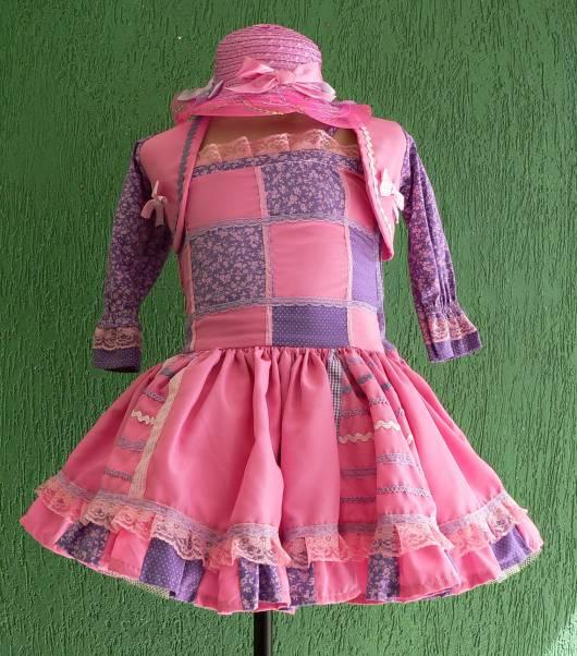 vestido rosa e roxo