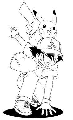 desenho ash com pikachu