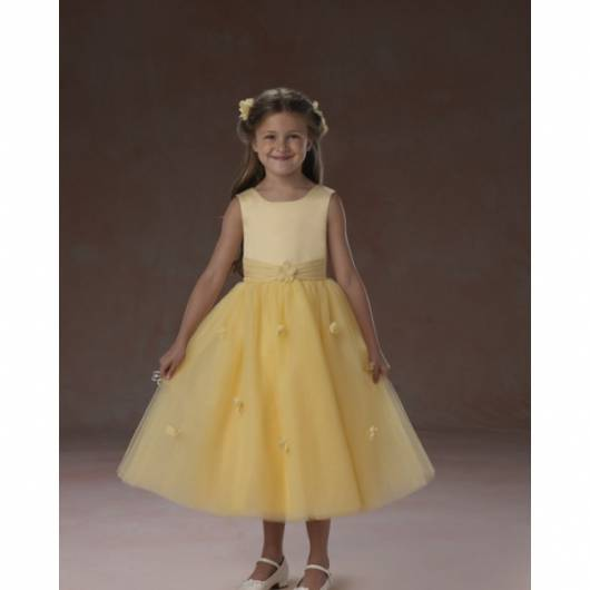vestido de formatura infantil amarelo