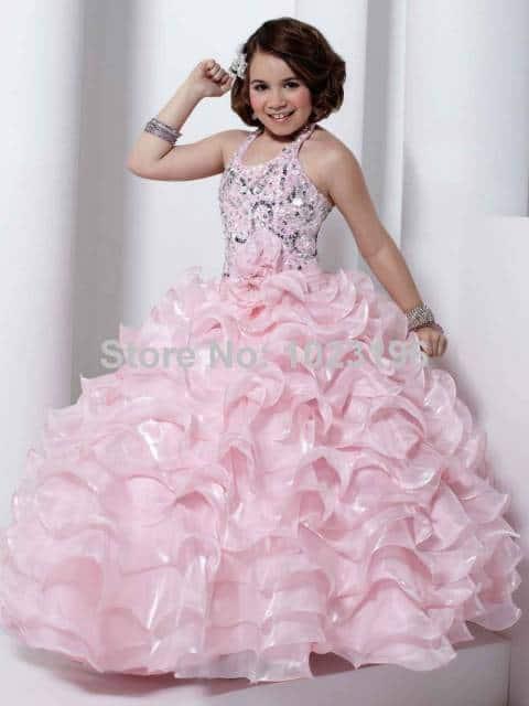 vestido de formatura infantil babados